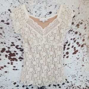 Cabi Lace Overlay Blouse Sz Small